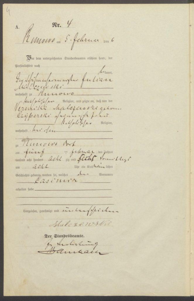 Akt urodzenia Kazimierza Malczewskiego