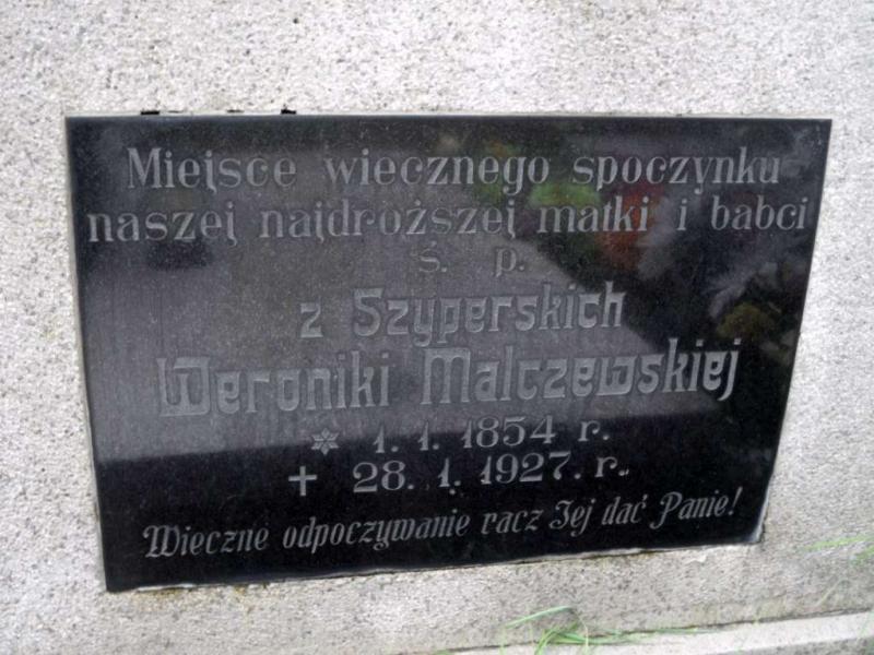 Nagrobek Weroniki Malczewskiej zd. Szyperskiej