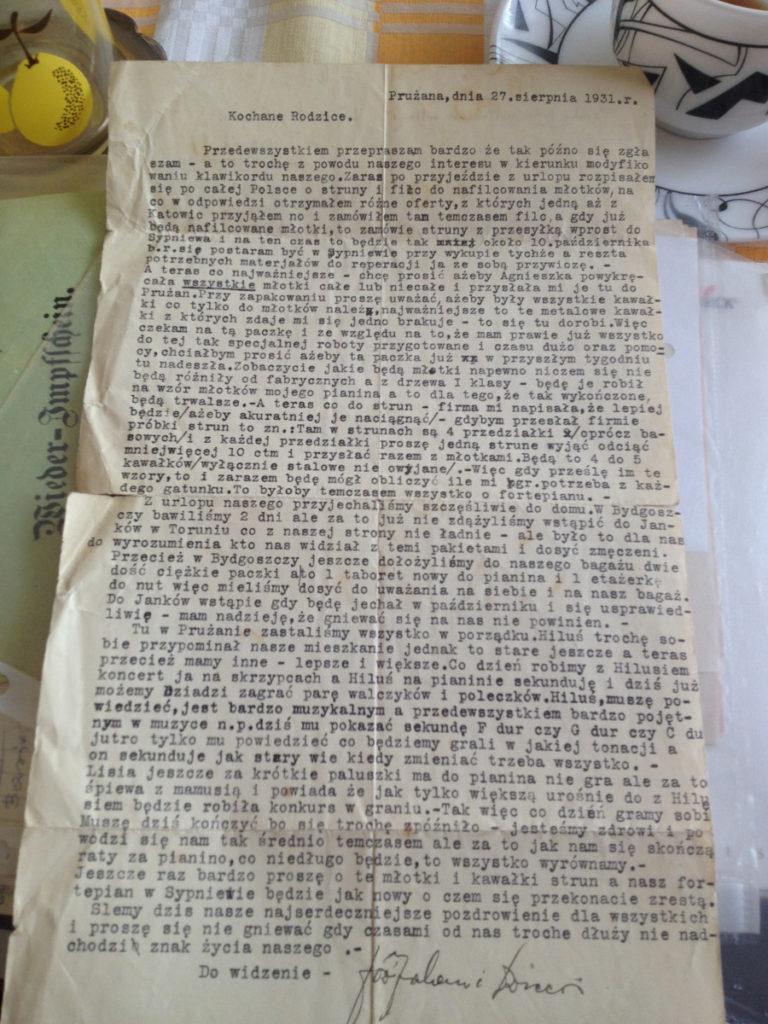 List wysłany przezJózefa dorodziców Franciszka iAgnieszki zd. Tomas