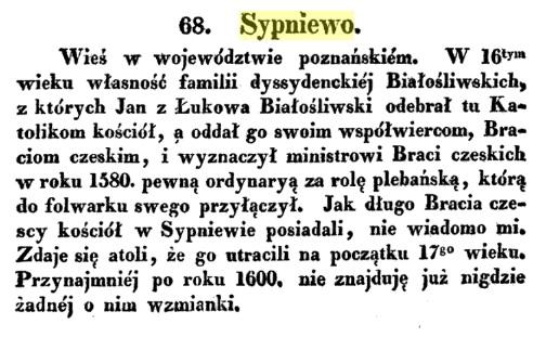 """O Sypniewie. Źródło: """"O kościołach Braci Czeskich wdawnej Wielkiejpolsce""""Józef Łukaszewicz."""