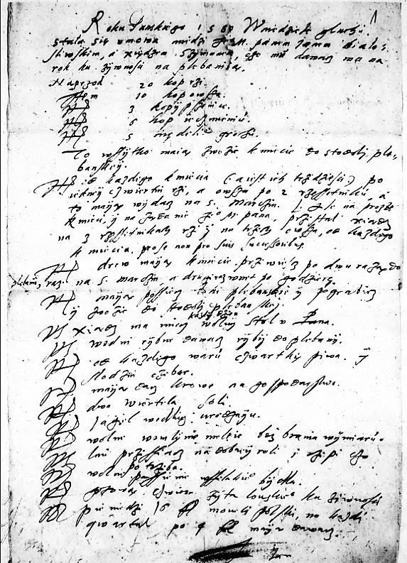 Umowa między ministrem Szymonem Muzoniuszem, aJanem Białośliwskim - właścicielem Sypniewa. Zezbiorów Archiwum Państwowego wPoznaniu.