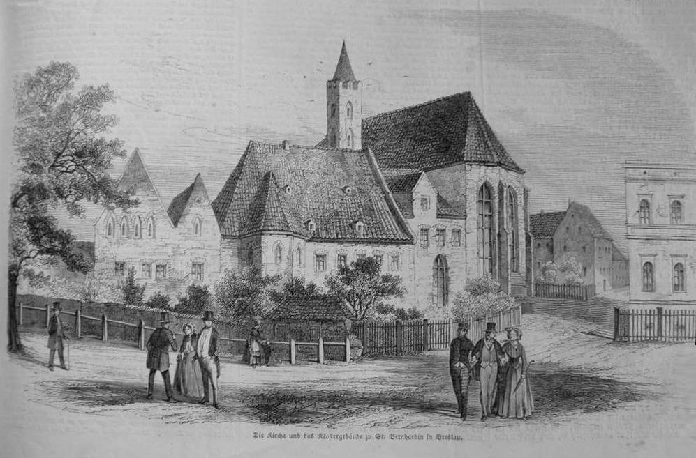 """1853 rok. Kościół iklasztor bernardynów. ilustracja """"Leipziger Illustrirte Zeitung"""". Wtym miejscu 14 lat później ochrzczony zostanie MaxGlauer. Fot.Fotopolska.eu"""