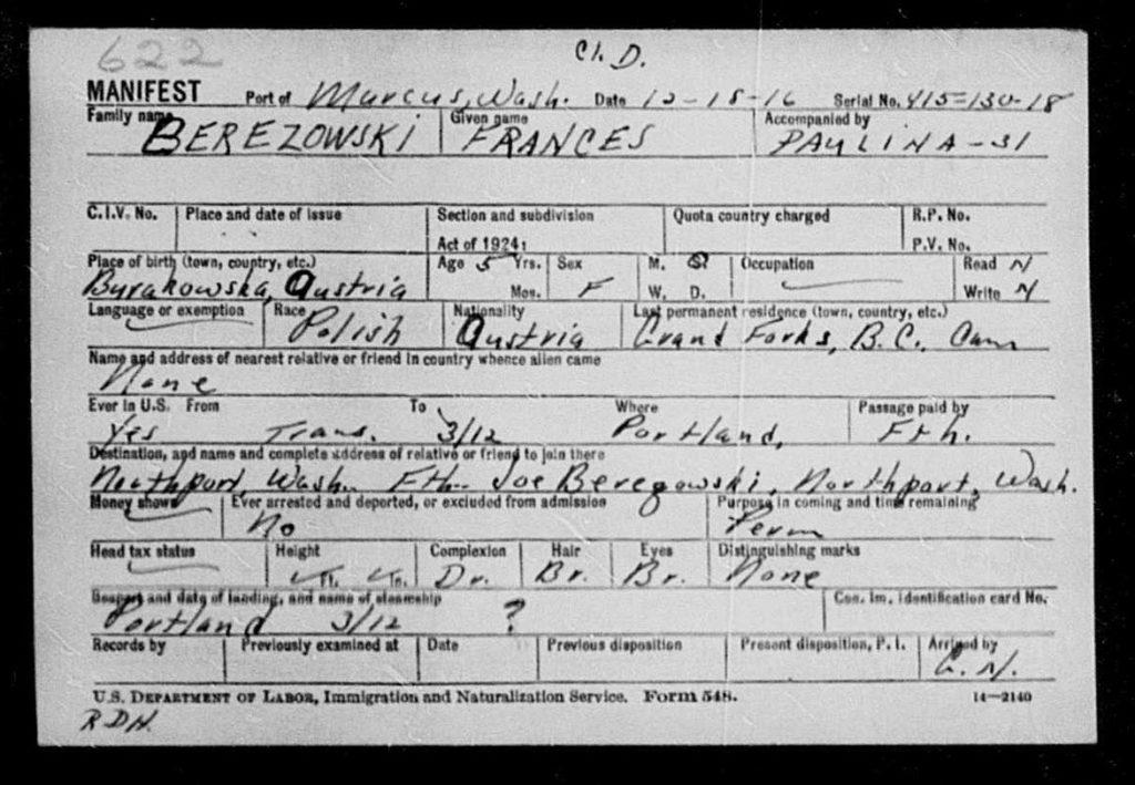 Karta emigracyjna Franciszki Berezowskiej młodszej. Źródło: familysearch.org