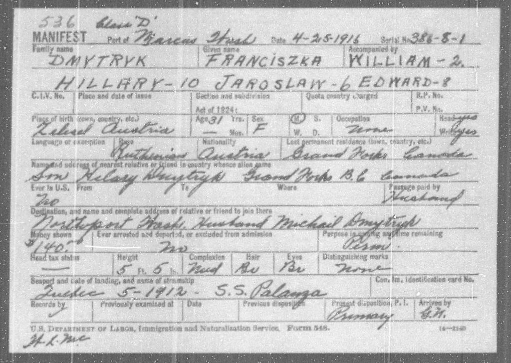 Dokumenty graniczne Franciszki Dmytryk ijej rodziny. Źródło: familysearch.org