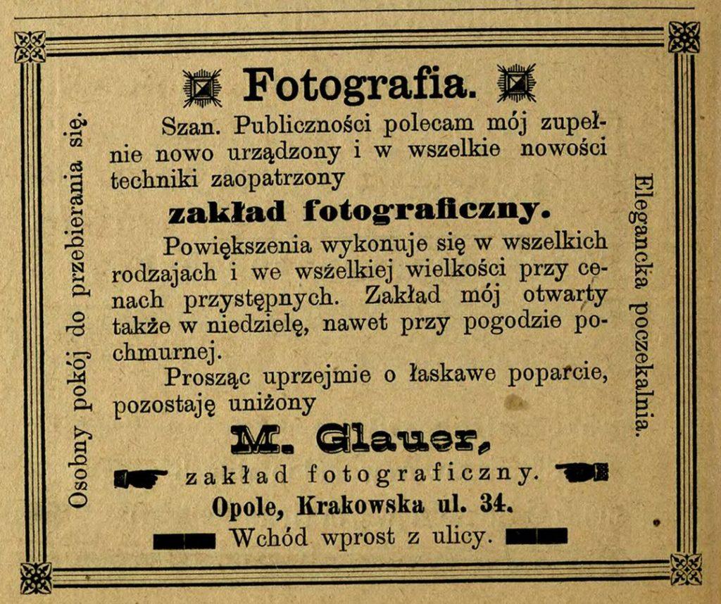 Ogłoszenie / Anzeige MaxGlauer (Staropolanin 1900, s. 60) Źródło: http://cmentarzopole.pl/de/biogram/person/17/max-glauer
