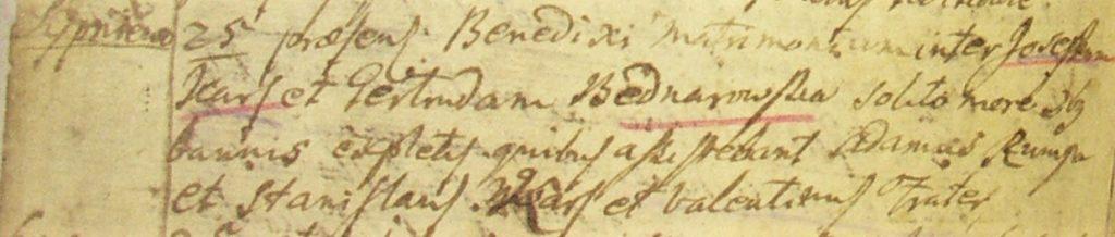 Ślub Józefa Karsa zGertrudą Bednarowską