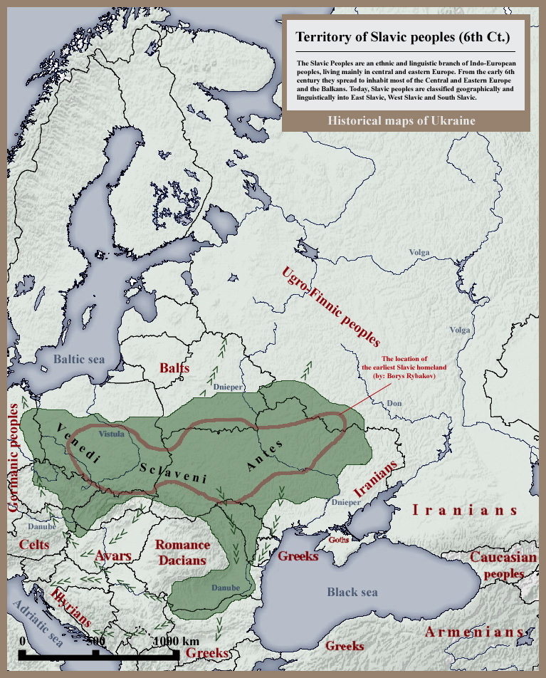 Słowianie wVI wieku. Źródło: wikipedia