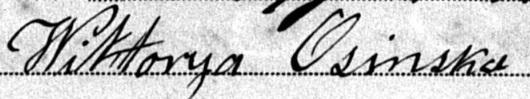 Podpis Wiktorii Osińskiej zd. Gummer z1883 roku