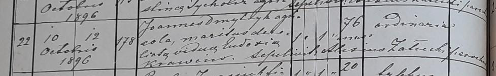Akt zgonu Jana Dmytryka 1896
