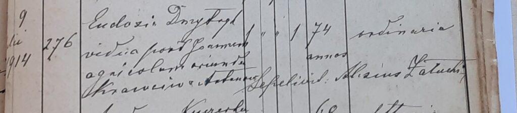 Akt zgonu Eudoksji Dmytryk zdomu Krawców (Krawczuk) 1914