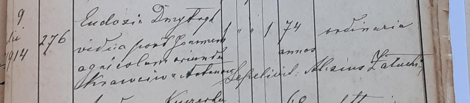 Akt zgonu Eudoksji Dmytryk z domu Krawców (Krawczuk) 1914